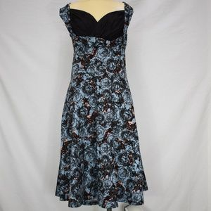 Lindy Bop | Black&Blue Sleeveless Floral Dress 4XL
